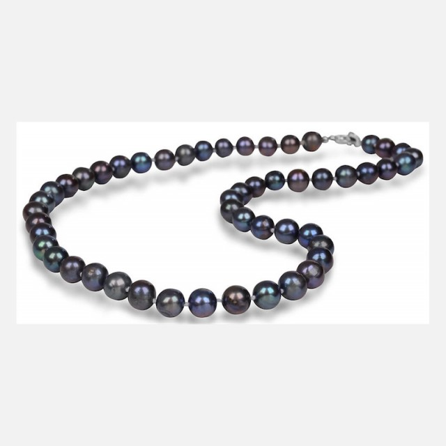 Pearl necklace metallic blue
