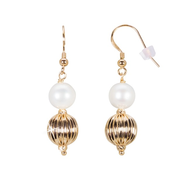 Pearl earrings with gold plated ball