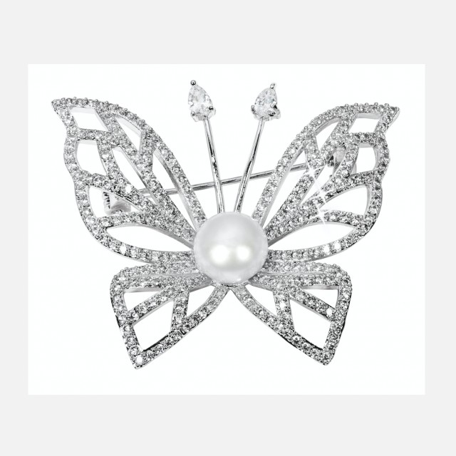 Luxury pearl brooch butterfly