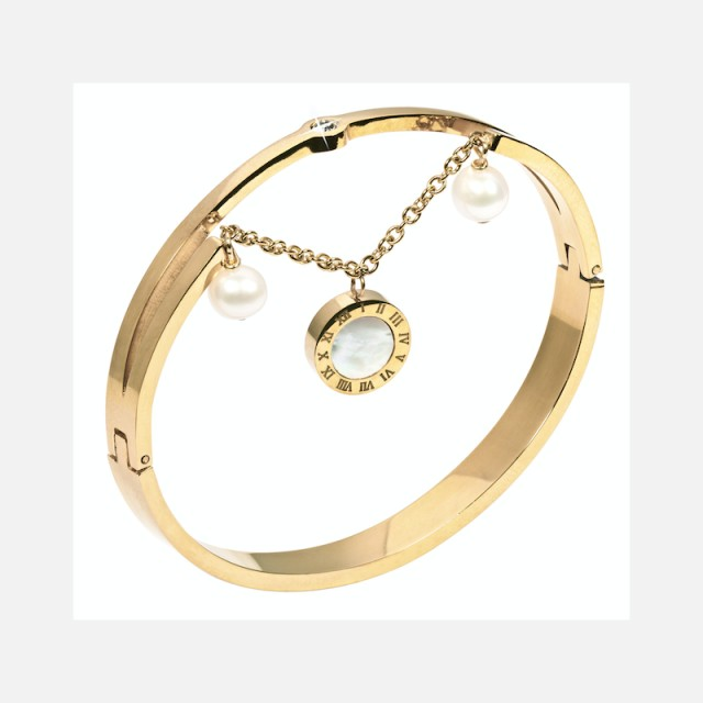 Gold plated steel bracelet with pearls