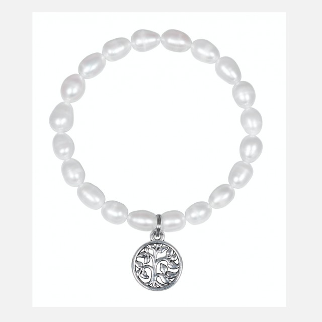 White pearl bracelet Tree of life