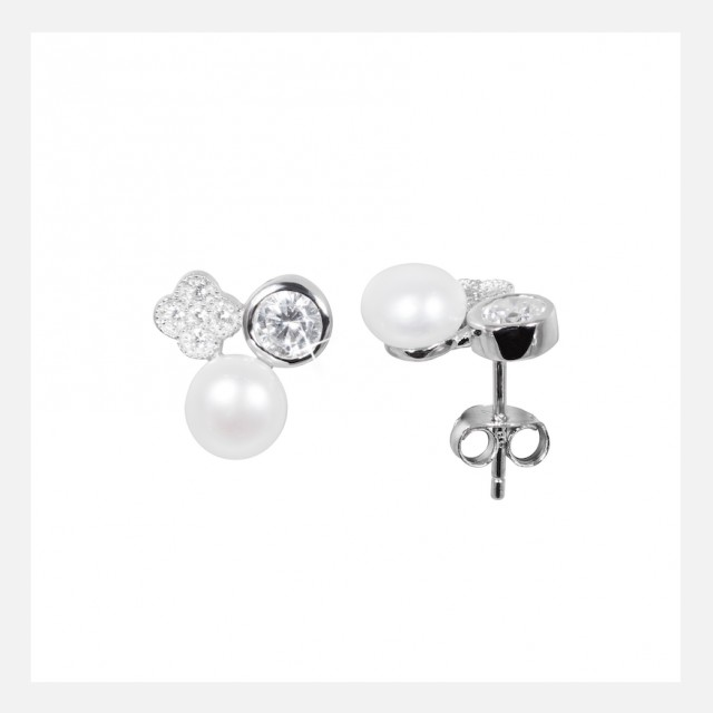 Earrings with zirconia and pearls