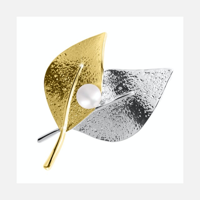 Bicolor brooch leaves 2in1