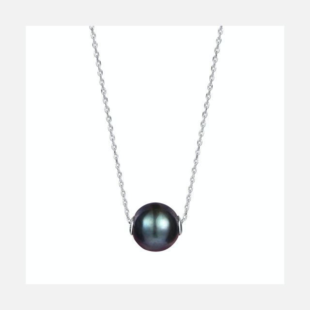 Necklace with real black pearl