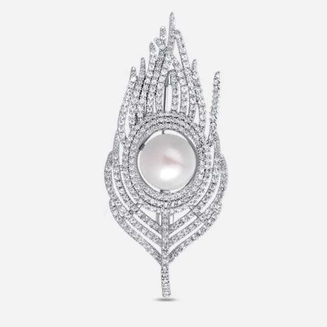 Luxury pearl brooch feather 2in1