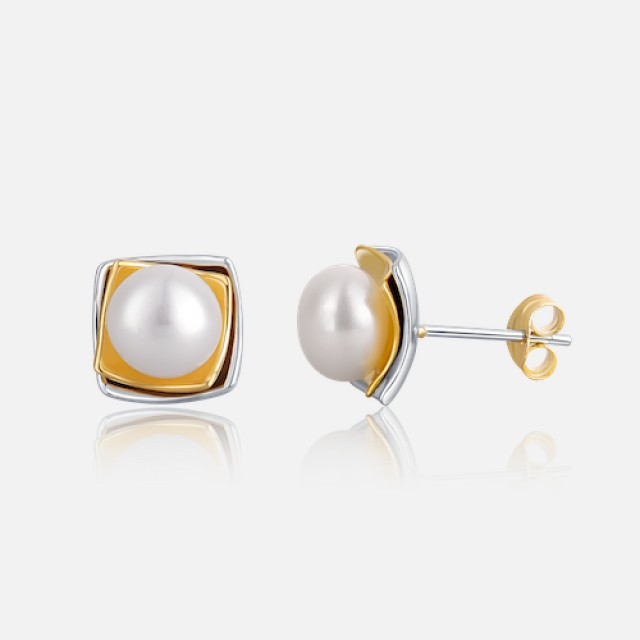 pearl bicolor earrings