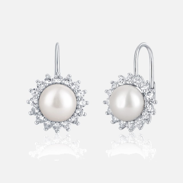 Elegant pearl earrings with secure fastening